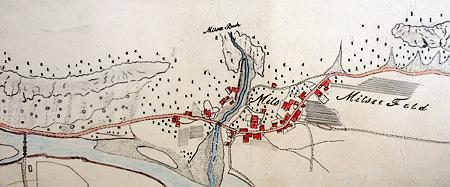 Lageplan Mils von ca. 1830, aufgefunden im Baubezirksamt Imst.