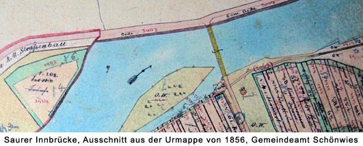 Alte Saurer Innbrücke in Schönwies, Ausschnitt aus der Urmappe von 1856