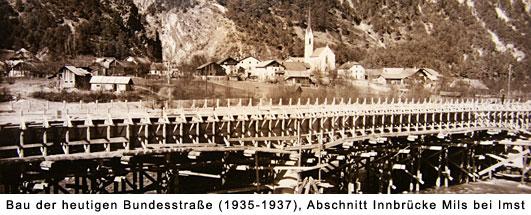 In Bau befindliche Innbrücke bei Mils bei Imst um 1936