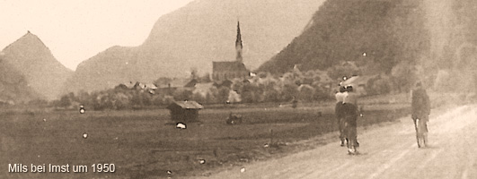 Mils bei Imst um 1950, Ansicht Richtung Westen
