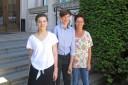 Anna-Maria Mayr und Felix Brunner mit Musiklehrerin Katja Reinstadler